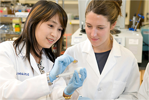 Two female lab students