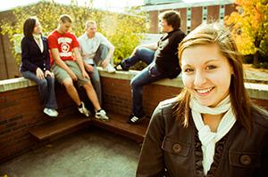 student smiling at camera