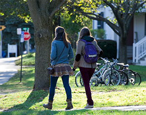 Two female students walking
